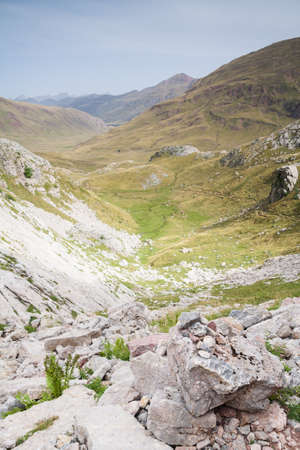 River on meadow amongst mountain valley  Aguas Tuertas Valley  Spanish Pyrenees Stock Photo