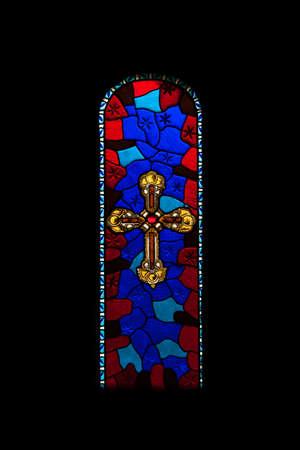 stained glass windows: Stained glass windows in an old church in Spain
