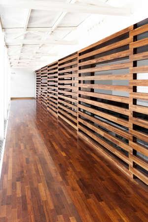 Modern corridor made of wood photo