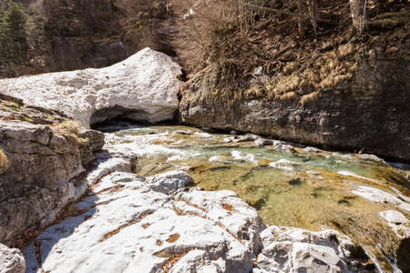 perdido: Ice and waterfall in the spanish national park Ordesa and Monte Perdido, Pyrenees