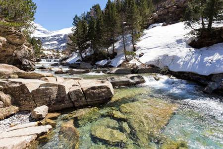 ordesa: Gradas de Soaso  Waterfall in the spanish national park Ordesa and Monte Perdido, Pyrenees