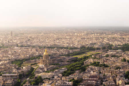 The aerial view of historic buildings and the Dome of the Invalides Stock Photo