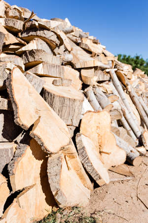 Stacked chopped wood for the winter