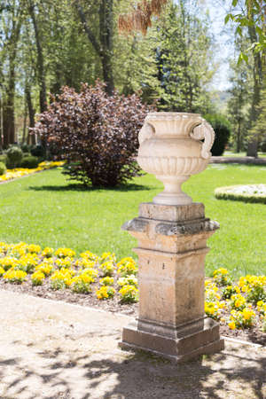 Stone jar in a park