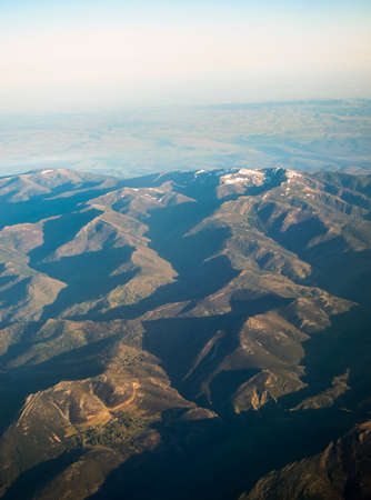 Aerial view of the mountain range of Madrid, Spain