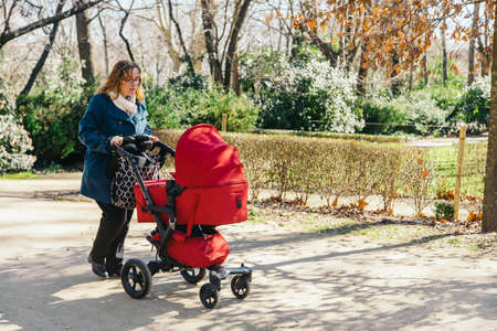 ni�o empujando: Madre que recorre con el cochecito de beb� en el parque