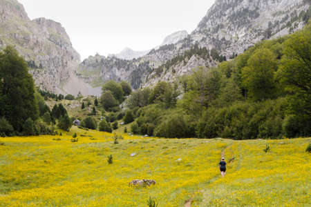 A woman is walking in Zurizas Valley, Spanish Pirineos