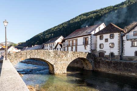View of a river in Ochagavia, Navarre (Spain) Stock Photo