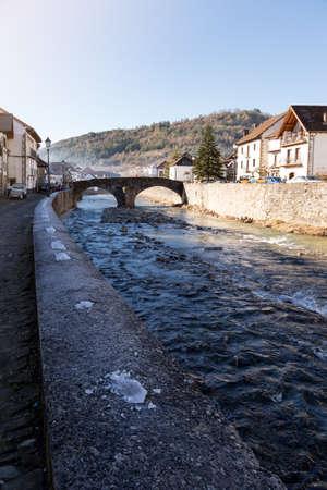 View of a river in Ochagavia, Navarre (Spain) Editorial