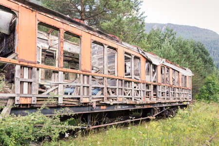 Old train car in the Canfranc International Railway Station (Aragon, Spain)