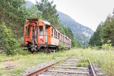 rusty car: Old train car in the Canfranc International Railway Station (Aragon, Spain)
