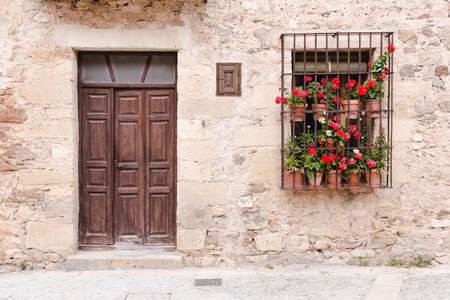 An old flowery facade in Spain