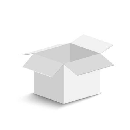 white open box on white background. open box with shadow. vector illustration Vector Illustratie