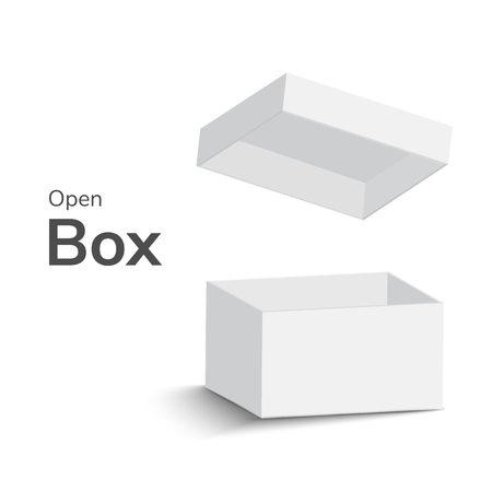 boîte ouverte blanche sur fond blanc. boîte ouverte avec ombre. illustration vectorielle Vecteurs