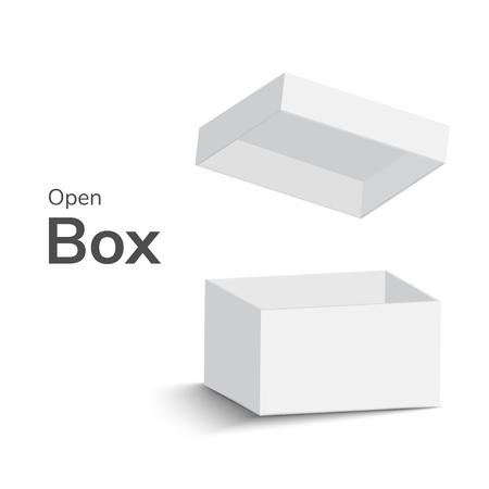 scatola aperta bianca su sfondo bianco. scatola aperta con ombra. illustrazione vettoriale Vettoriali