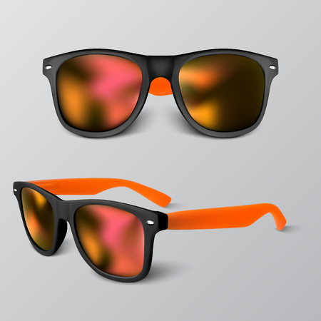 set of realistic sunglass with red lens isolated on gray backgroud. vector illustration. Ilustrace