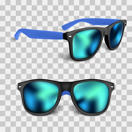set of realistic sunglass with blue lens isolated on backgroud. vector illustration.