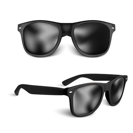 set of realistic black sun glasses isolated on white background. vector illustration. Vektoros illusztráció