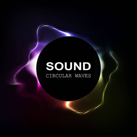 radial colour sound waves isolated on darck background, vector illustration