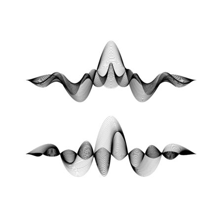 set of waveforms isolated on white background, vector illustration