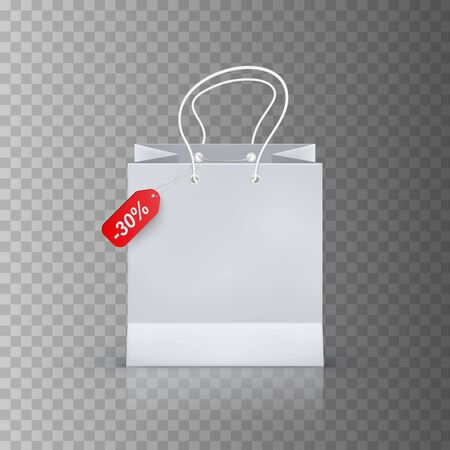 realistic shopping bag isolated on transparent background, vector illustration