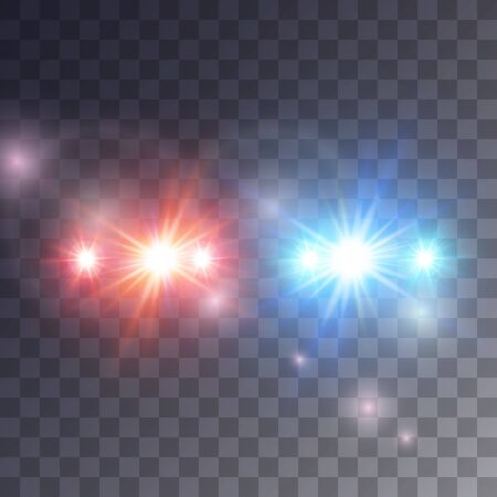 Lights siren effect isolated on dark background, vector illustration