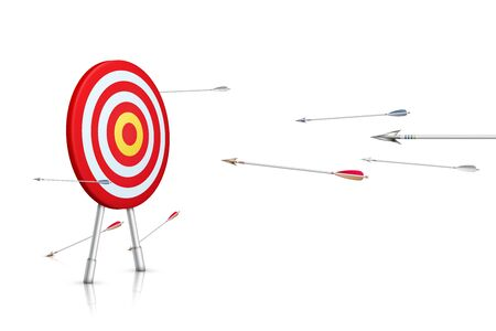 Path to success. Realistic aim and arrows isolated on white background. Vector illustration.