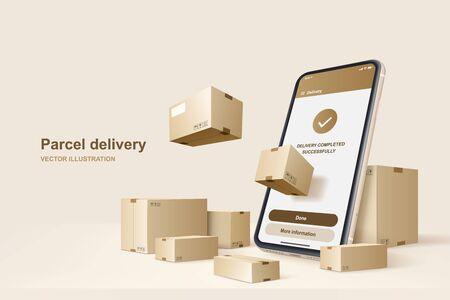 Parcel delivery. Concept for fast delivery service, vector illustration