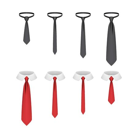 Set of realistic ties isolated on white background, vector illustration