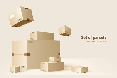 Template of packages. Cardboard boxes for packing and transportation of goods. Vector concept illustration.