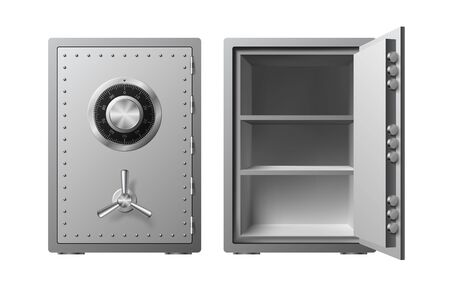 Steel safe with combination lock Isolated on a white background. Armored box. Reliable data protection. Protection of personal information. Vector illustration Vettoriali
