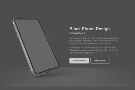Black vector phone isolated on dark background. Mock up with empty screen for business presentations. Ilustração Vetorial