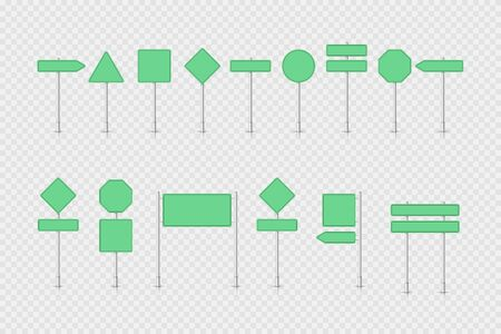 Mockup green traffic sign isolated on white transparent. Road signpost. Blank board with place for text. Direction.