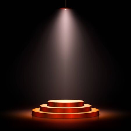 Podium with lighting. Scene with for award ceremony on dark background. Vector illustration.