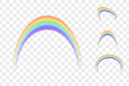 Set of colour rainbows isolated on transparent  background, vector illustration 矢量图像