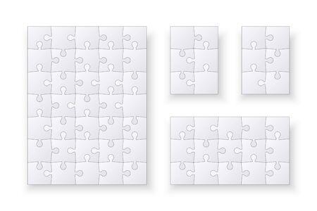 Set of jigsaw puzzle templates. Many puzzle pieces isolated on white background. Vector illustration Çizim
