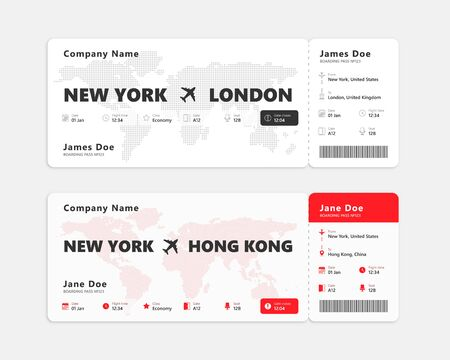Realistic air ticket isolated on white background. Concept design of boarding pass ticket. Vector illustration