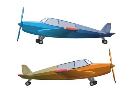 Set of airplane in cartoon style isolated on white background. Agricultural propeller plane, vector illustration Vektorgrafik