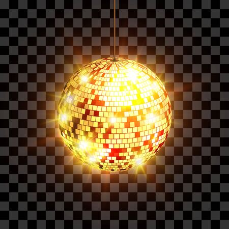 Disco ball with light rays isolated on transparent background. Vector illustration. Vettoriali