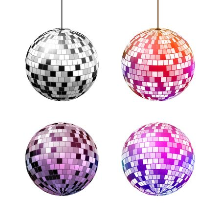 Disco ball with light rays isolated on white  background, vector illustration.