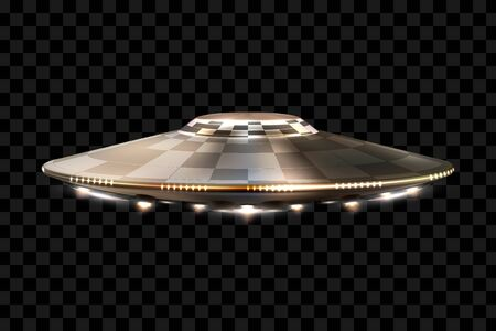 UFO. Unidentified flying object. Futuristic UFO on a transparent background, vector illustration.