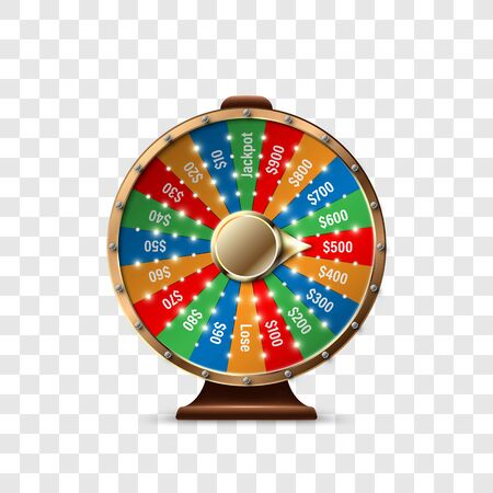 Wheel of Fortune to play and win the jackpot isolated on transparent background. Roulette of luck. Win fortune roulette. Vector illustration Vectores