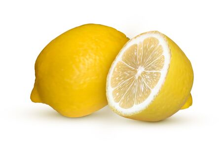 Realistic lemon isolated on white background. Fresh yellow fruit, vector illustration