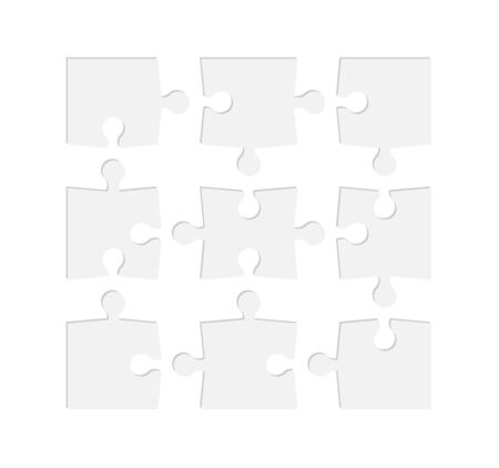 Set of jigsaw puzzle templates. Many puzzle pieces isolated on white background. Vector illustration Illusztráció