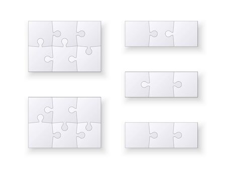 Set of jigsaw puzzle templates. Many puzzle pieces isolated on white background. Vector illustration