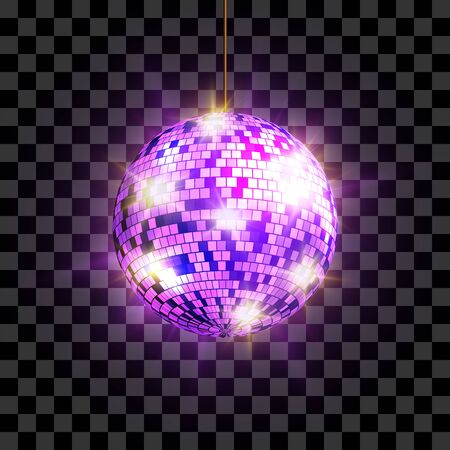 Disco ball with light rays isolated on transparent background, vector illustration.