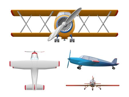 Set of airplane in cartoon style isolated on white background. Agricultural propeller plane, vector illustration
