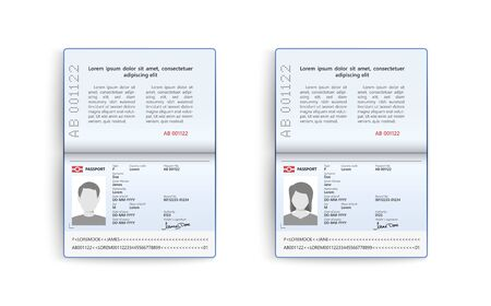 Realistic set of passport. Identity card isolated on white background, vector illustration