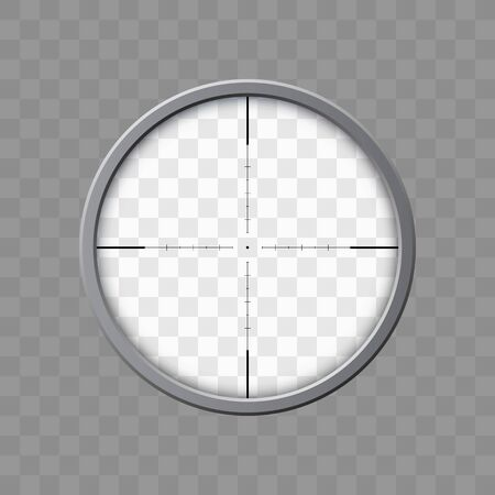 Sniper rifle scope. Weapon aim. Template of optical glass. Target concept, vector illustration