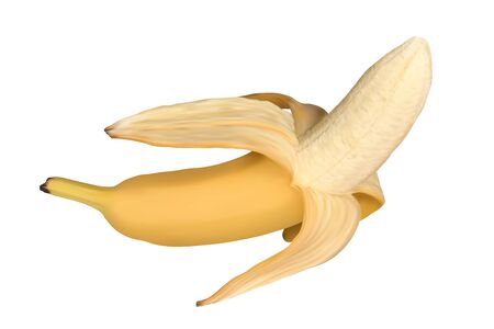 Realistic open banana isolated on white background. Half peeled banana, vector illustration